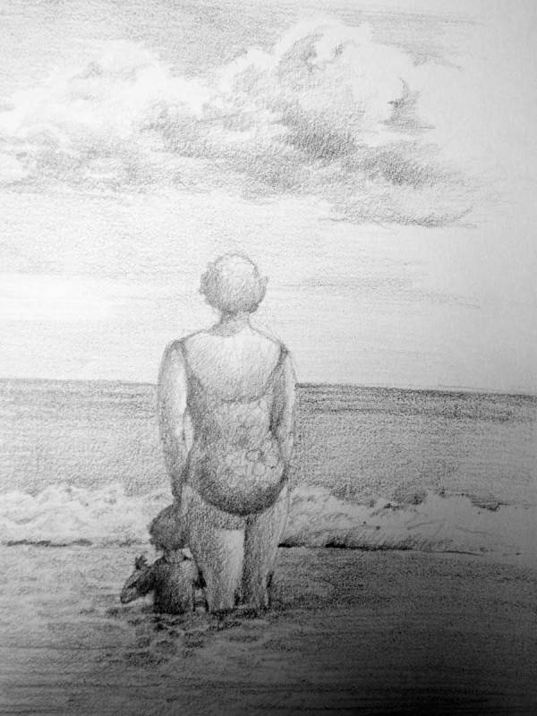 Sketch of Mom and Child at Shore