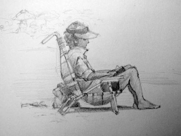 Sketch of Woman Reading on Beach