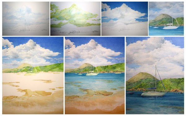 Secret Harbour Watercolor Stages