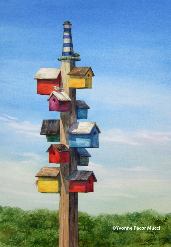 Birdhouses Watercolor By Yvonne Pecor Mucci