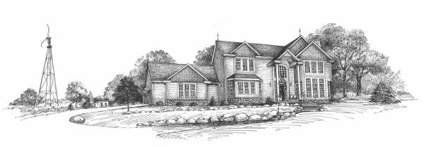 A Very Fine House, Line Art By Yvonne Pecor Mucci