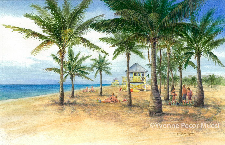 Crandon Park Watercolor (Framed 16 x 20) By Yvonne Pecor Mucci