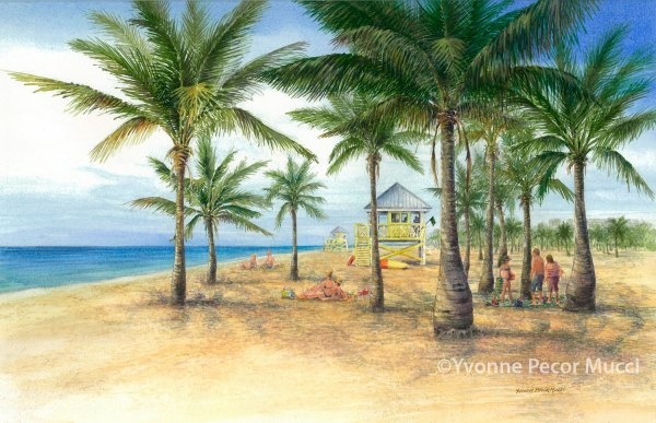 Crandon Park Watercolor (Framed 16 x 20) By Yvonne Pecor Mucci