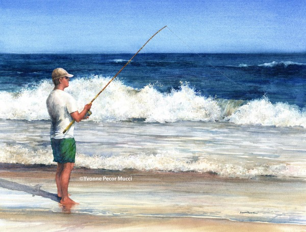 Surf Fishing Down The Shore (Framed 24 x 20) by Yvonne Pecor Mucci