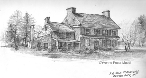 Back view of Ann Whitall House – Graphite Sketch