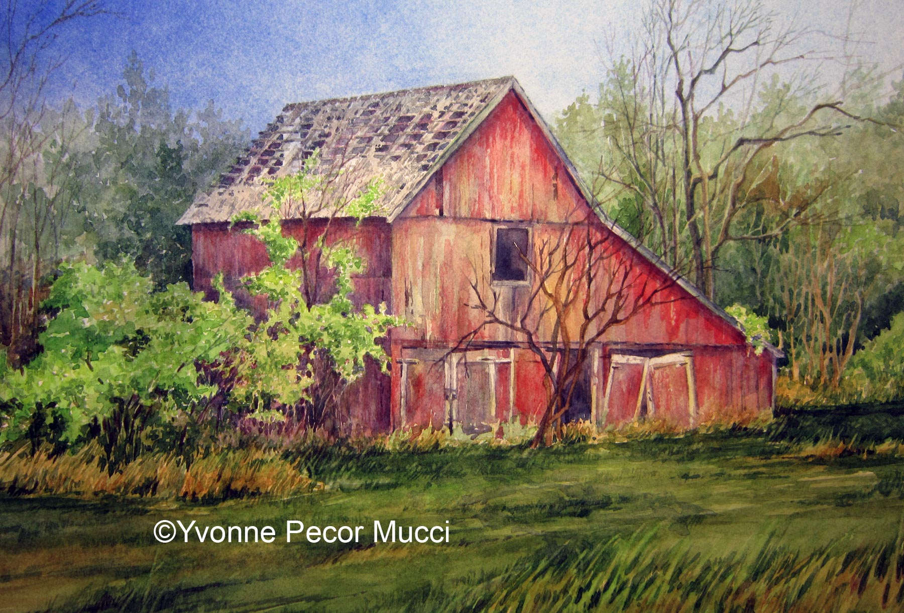Fading Red Barn Framed 14 X 18 By Yvonne Pecor Mlucci