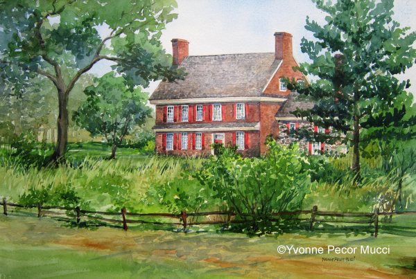 Ann Whitall House Watercolor (Framed 18 x 24)