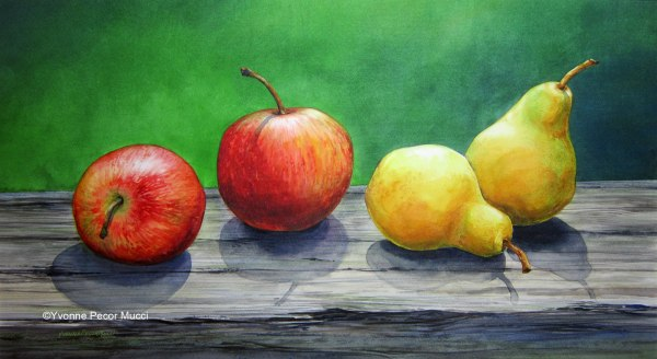Apples and Pears Watercolor by Yvonne Pecor Mucci (Framed