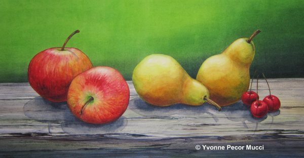 Apples and Pears Watercolor by Yvonne Pecor Mucci