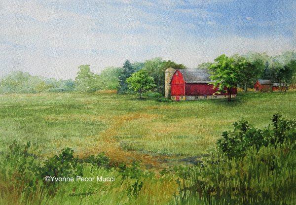 Cedarburg Barn Watercolor by Yvonne Pecor Mucci (Framed 18 x 14)