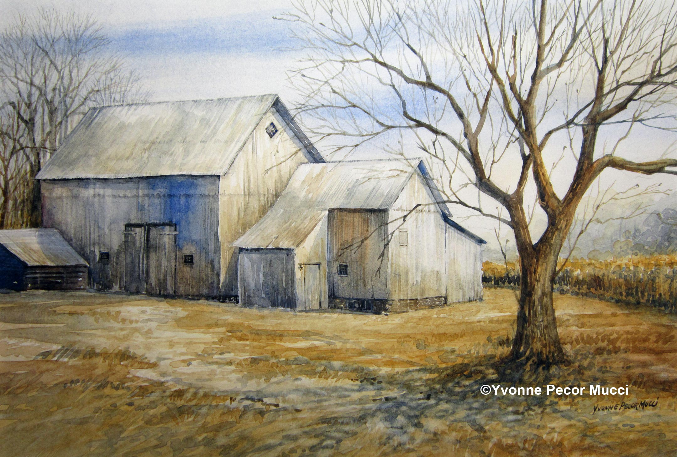 Waiting for Spring Watercolor by Yvonne Pecor Mucci