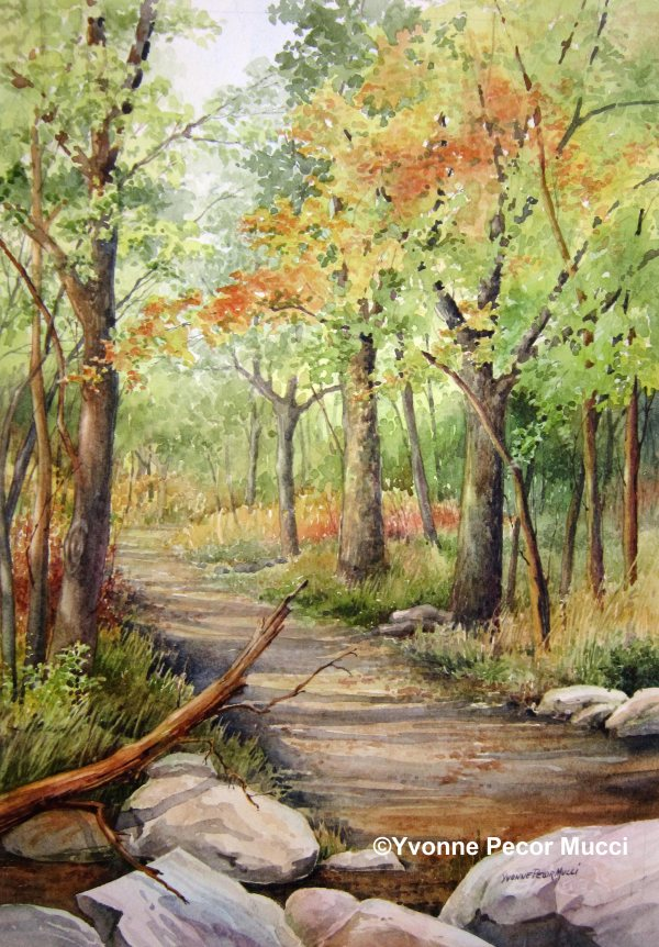 Wooded Path Watercolor by Yvonne Pecor Mucci (Framed 14 x 18)