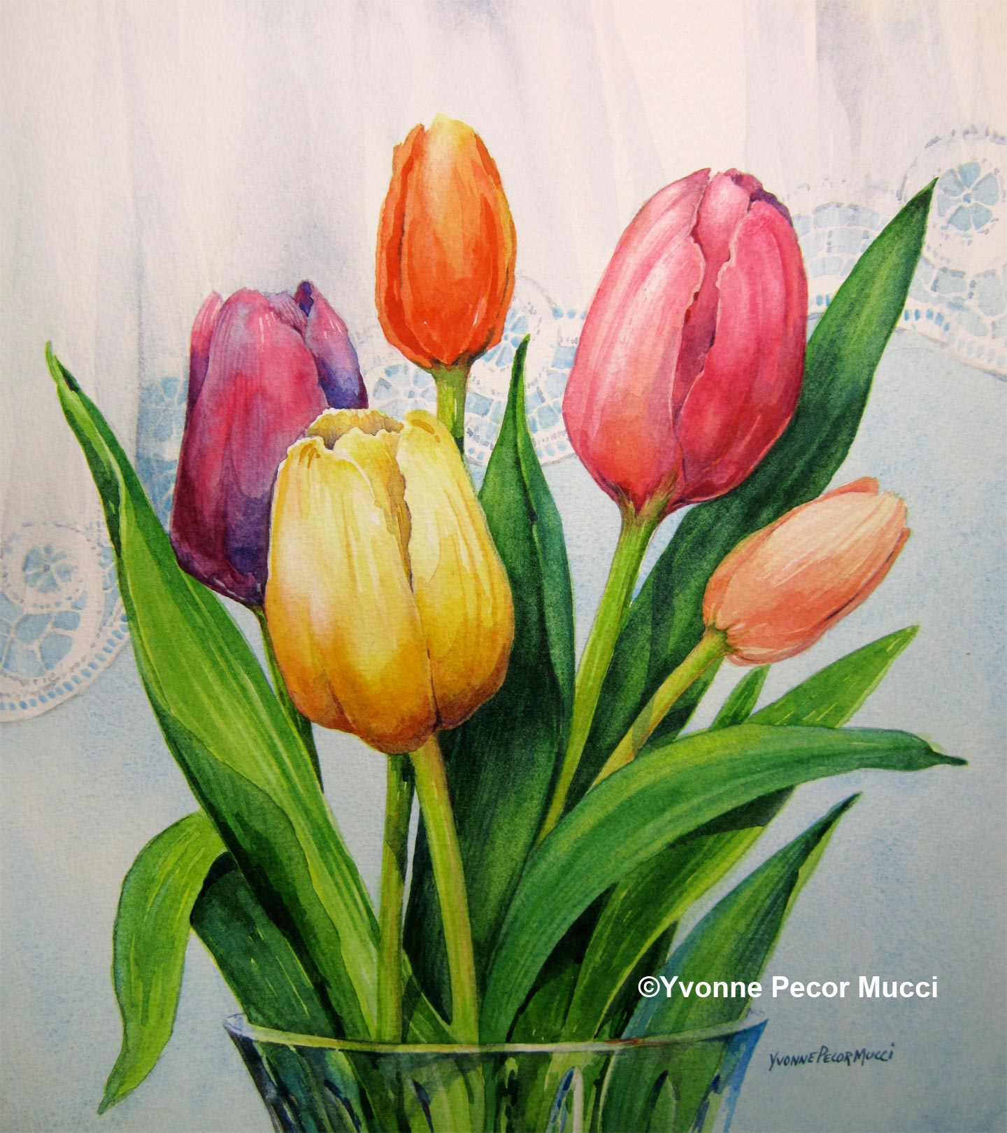 spring tulips watercolor yvonne pecor mucci