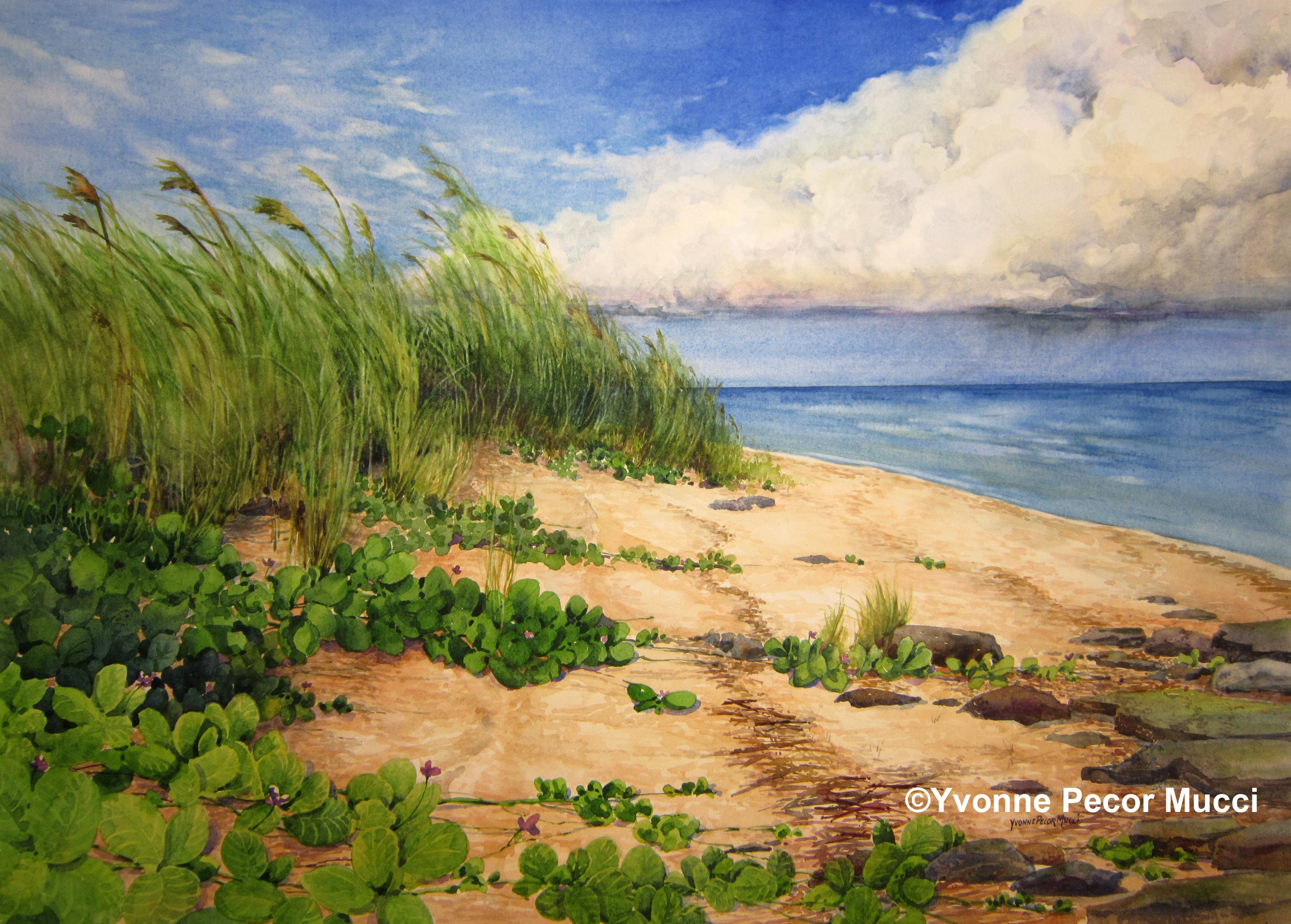 The Shore by Yvonne Pecor Mucci (Framed 27 x 20)