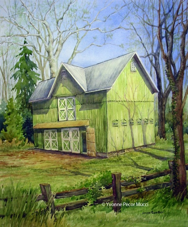 The Green Barn watercolor by Yvonne Pecor Mucci
