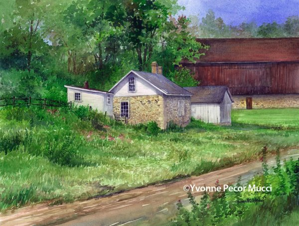 Outbuildings watercolor by Yvonne Pecor Mucci