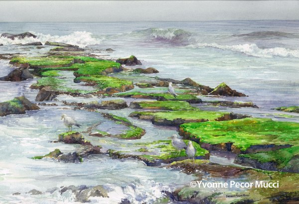 Ebb and Flow Watercolor by Yvonne Pecor Mucci