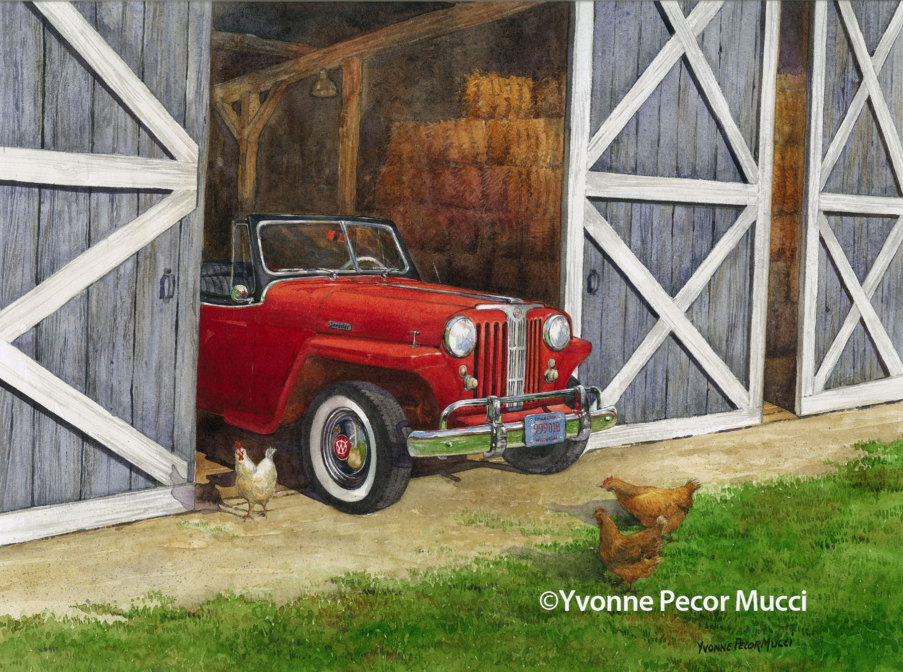 What's In The Barn Watercolor by Yvonne Pecor Mucci