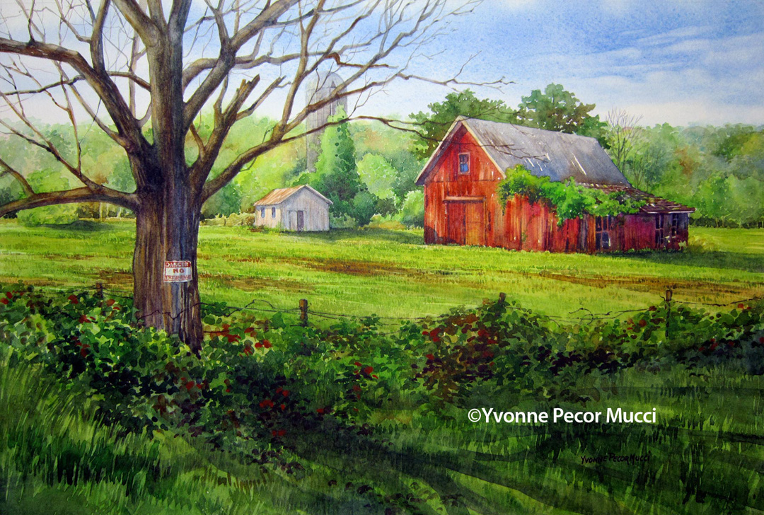 No Trespassing watercolor by Yvonne Pecor Mucci (Framed 24 x 18, Available)