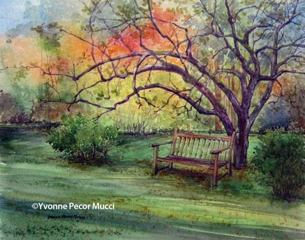 Our Spot watercolor by Yvonne Pecor Mucci (Framed 20 x 16, Sold)