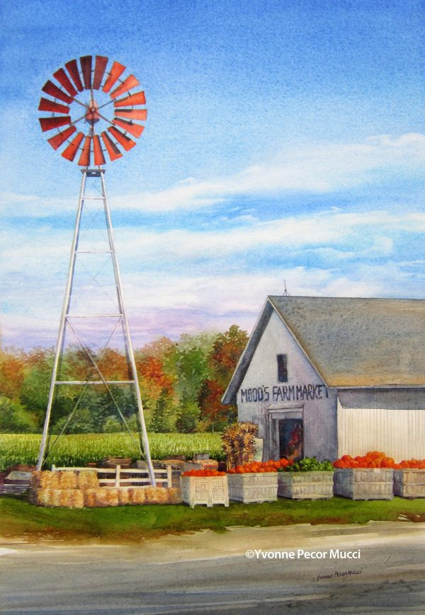 Mood's Farm Market watercolor by Yvonne Pecor Mucci (Framed 18 x 24, Available)