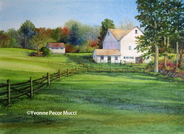 Brandywine Valley White Barn – Watercolor by Yvonne Pecor Mucci