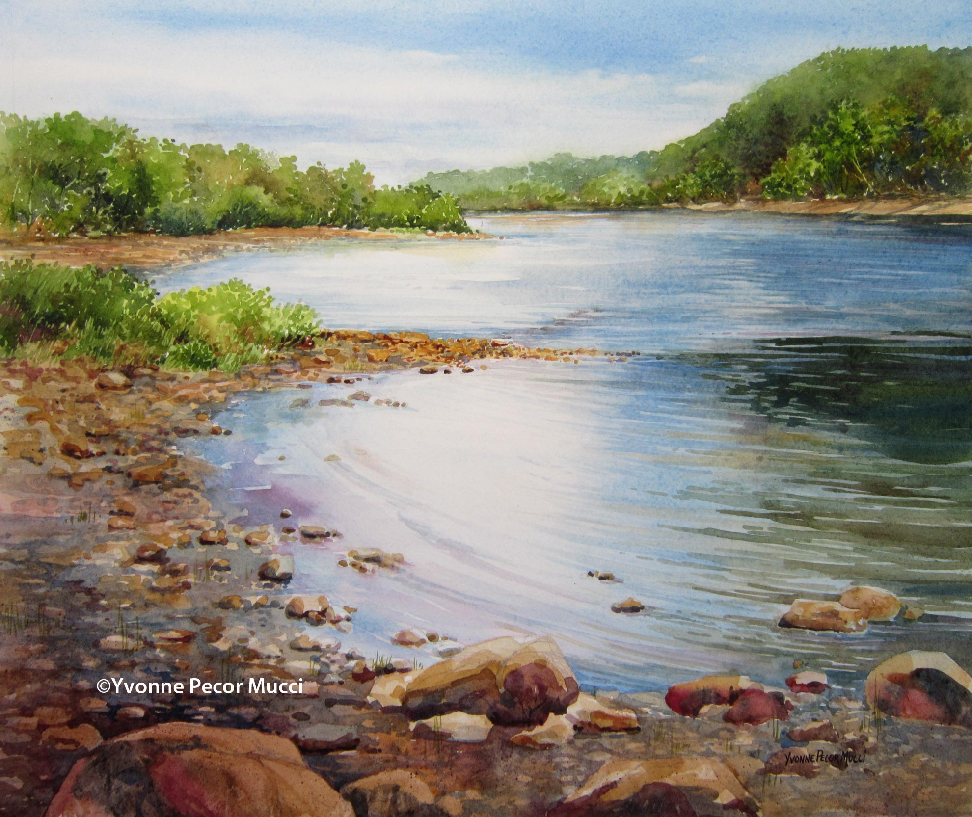 Marble Hill On The Delaware watercolor by Yvonne Pecor Mucci
