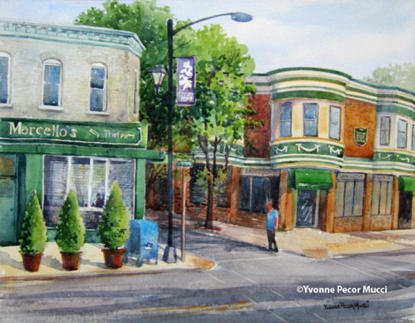 Meet Me On The Corner watercolor by Yvonne Pecor Mucci (framed 16 x 20, available)