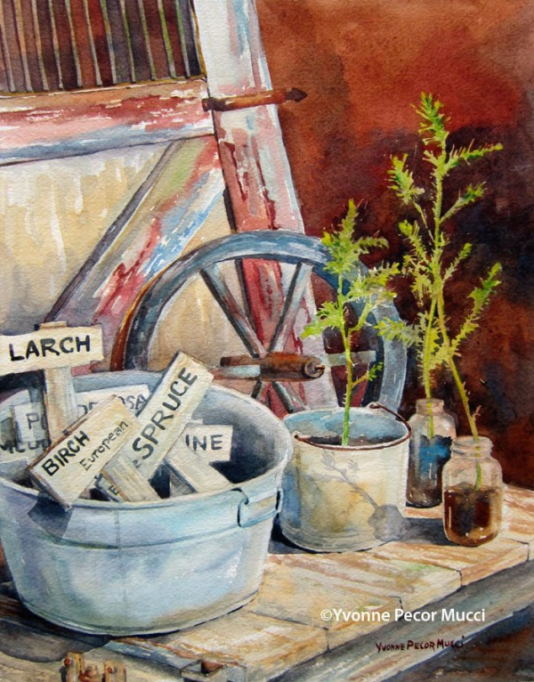 Something New watercolor by Yvonne Pecor Mucci