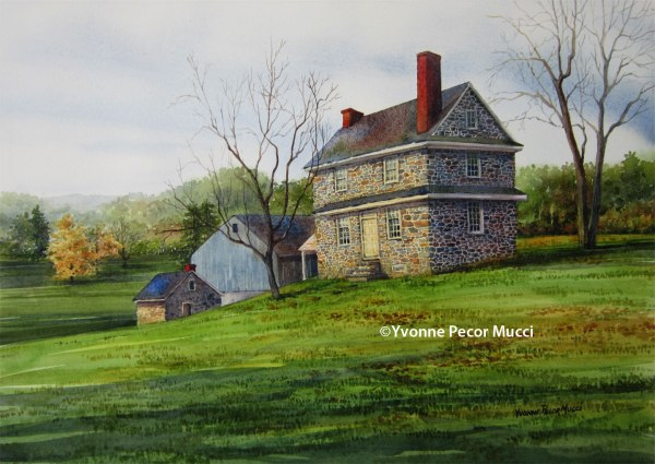 John Chad's House watercolor by Yvonne Pecor Mucci