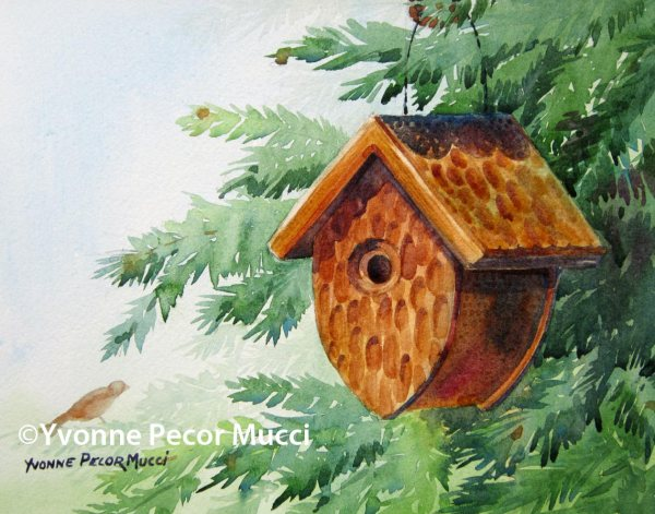 Al's Birdhouse watercolor by Yvonne Pecor Mucci