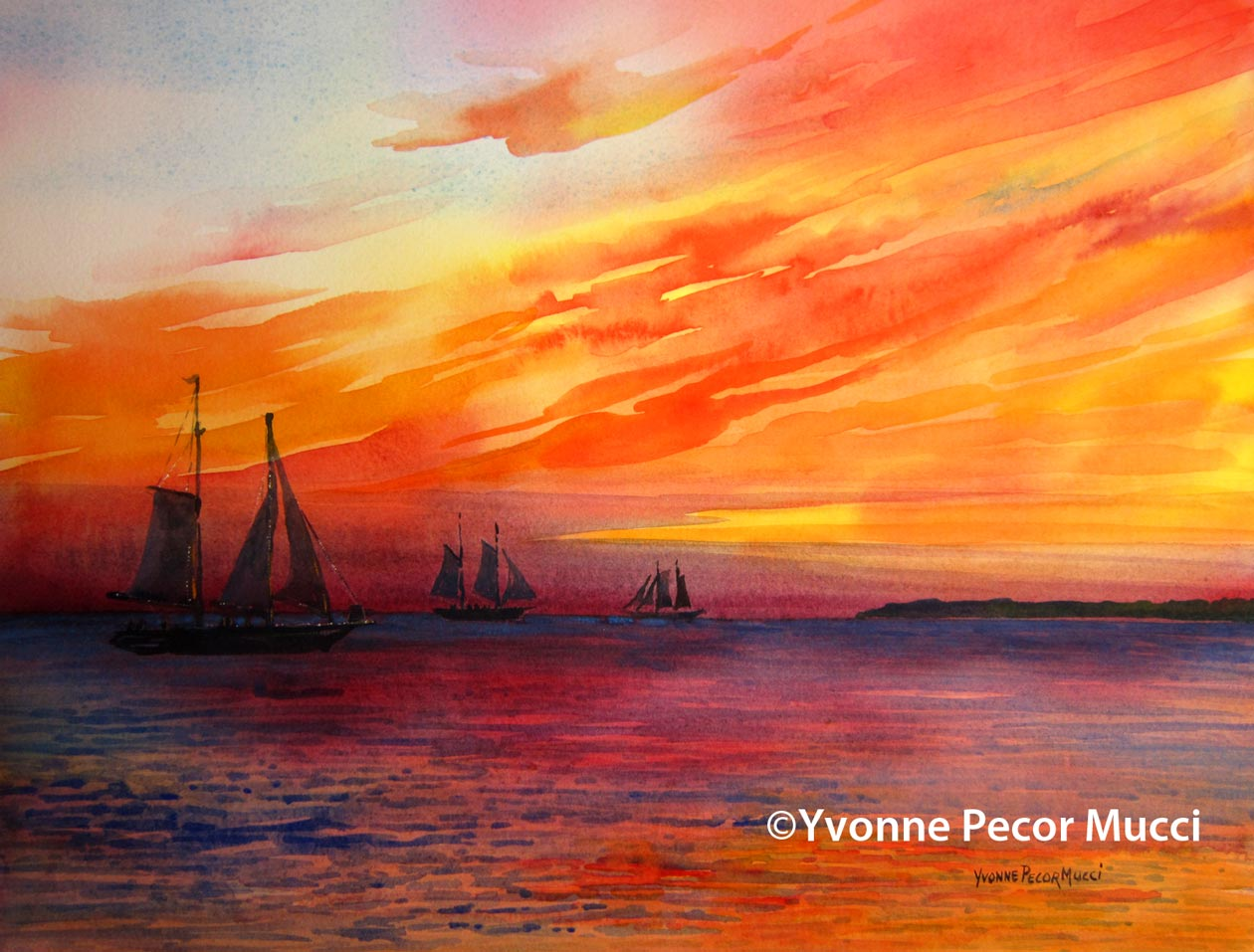 Chasing The Sun watercolor by Yvonne Pecor Mucci