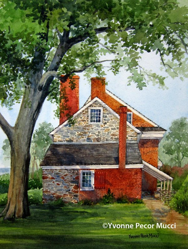 Red Bank Battlefield watercolor by Yvonne Pecor Mucci (Available)