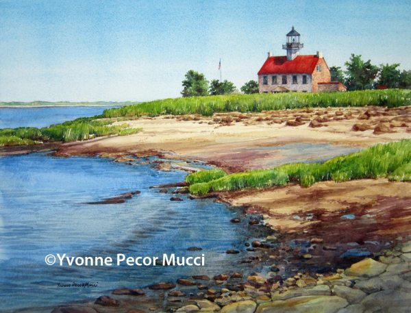 Low Tide At East Point watercolor by Yvonne Pecor Mucci (Framed 24 x 18, Available)