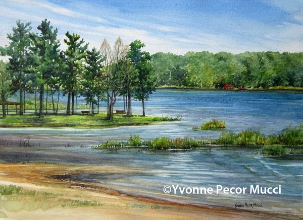 Sunset Lake Watercolor by Yvonne Pecor Mucci (Framed 20 x 16, Available)
