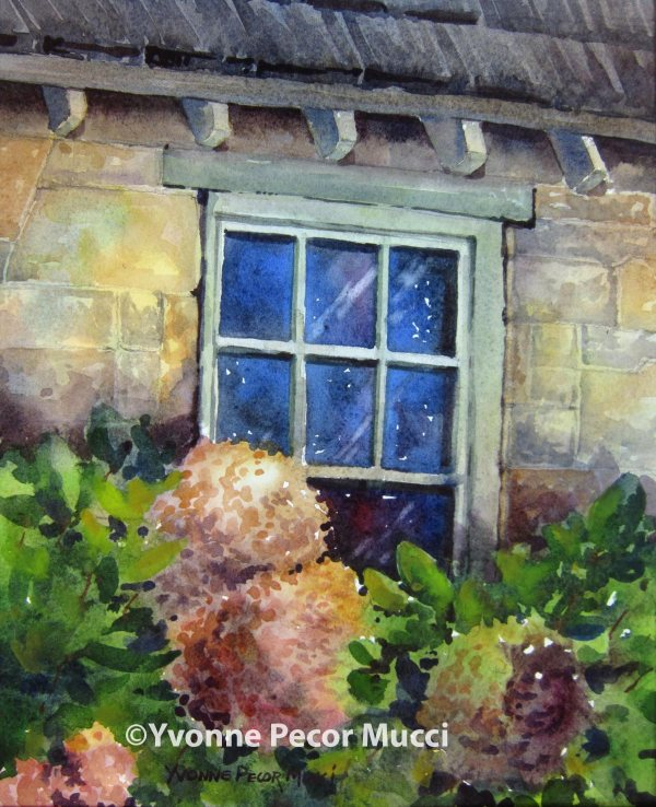 Garden View watercolor by Yvonne Pecor Mucci (Framed 11 x 14, Sold)