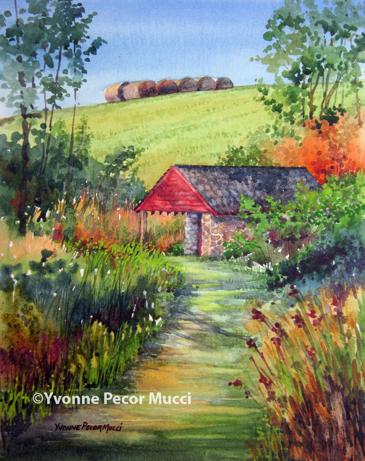 Springhouse at Coverdale  watercolor by Yvonne Pecor Mucci (Framed 11 x 14, Sold)