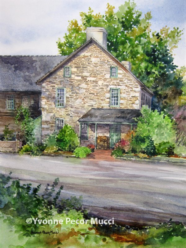 Welcome To The Inn watercolor by Yvonne Pecor Mucci (Framed 16 x 20, Available)