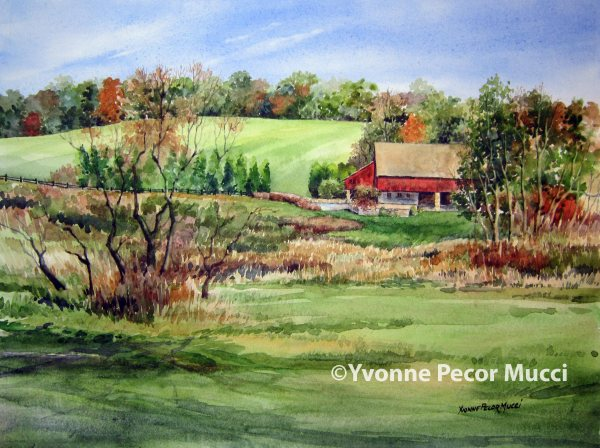 Indian Summer watercolor by Yvonne Pecor Mucci (Framed 20 x 16, Sold)