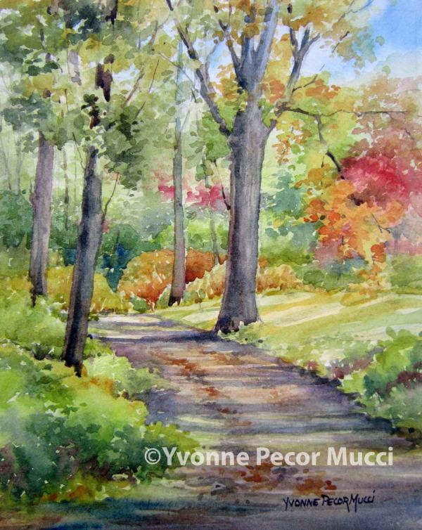 Morning Walk watercolor by Yvonne Pecor Mucci (Framed 11 x 14, Sold)