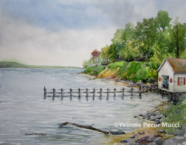 """Betterton Days"" watercolor by Yvonne Pecor Mucci (Framed 20 x 16, sold)"