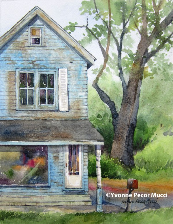 """Faded Blues"" watercolor by Yvonne Pecor Mucci (Framed 11 x 14, available)"