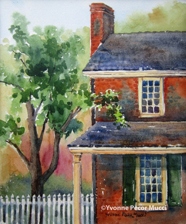 """White Swan Tavern"" watercolor by Yvonne Pecor Mucci (Framed 11 x 14, available)"